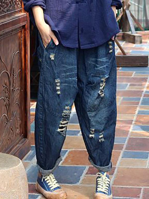 Vintage Elasticity Hollow 3/4 Jean Pants