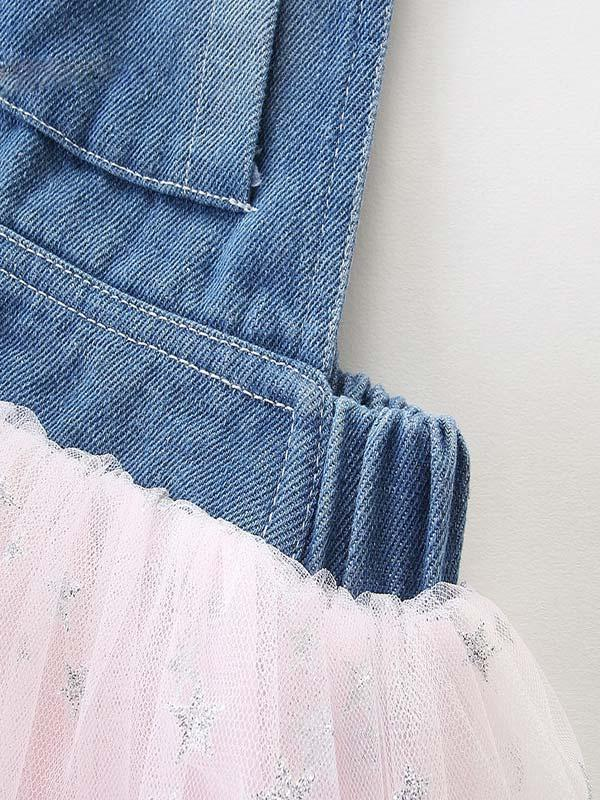 Summer Denim Stitching Star Mesh Dress