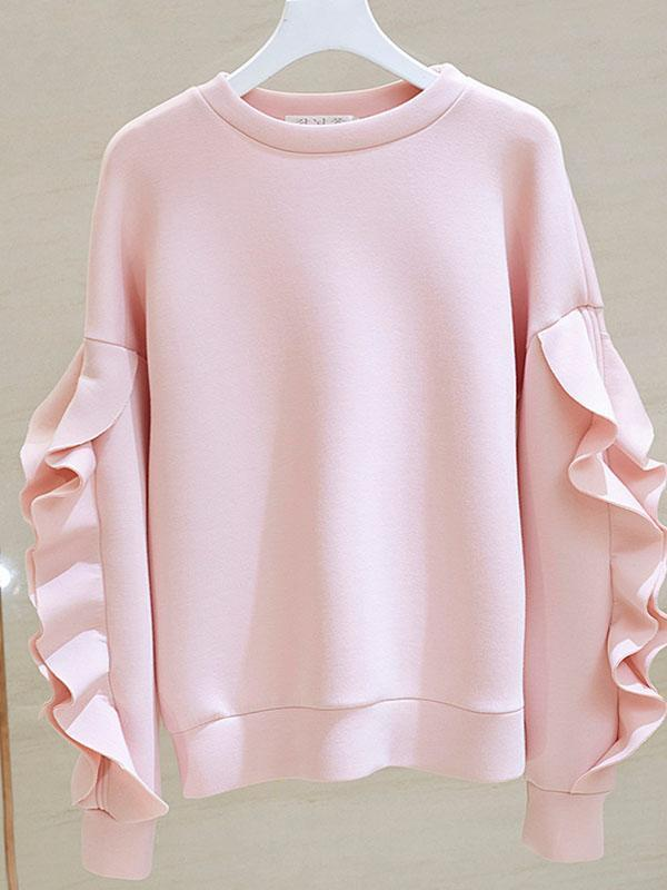 Air Cotton Ruffled Lazy Pullover Sweatshirts