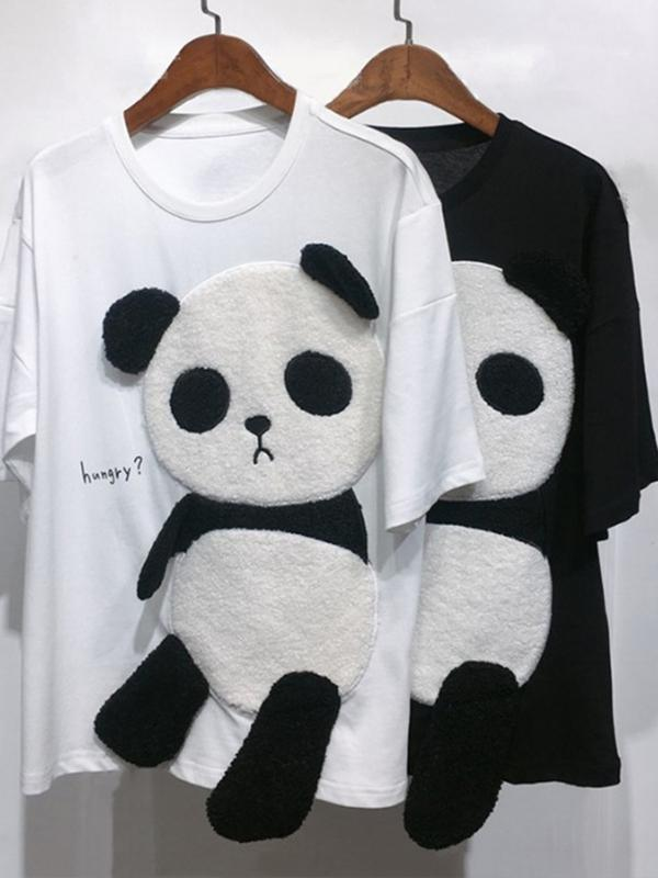New sale! Super cute panda cartoon summer cute switching pullover short sleeve T-shirt