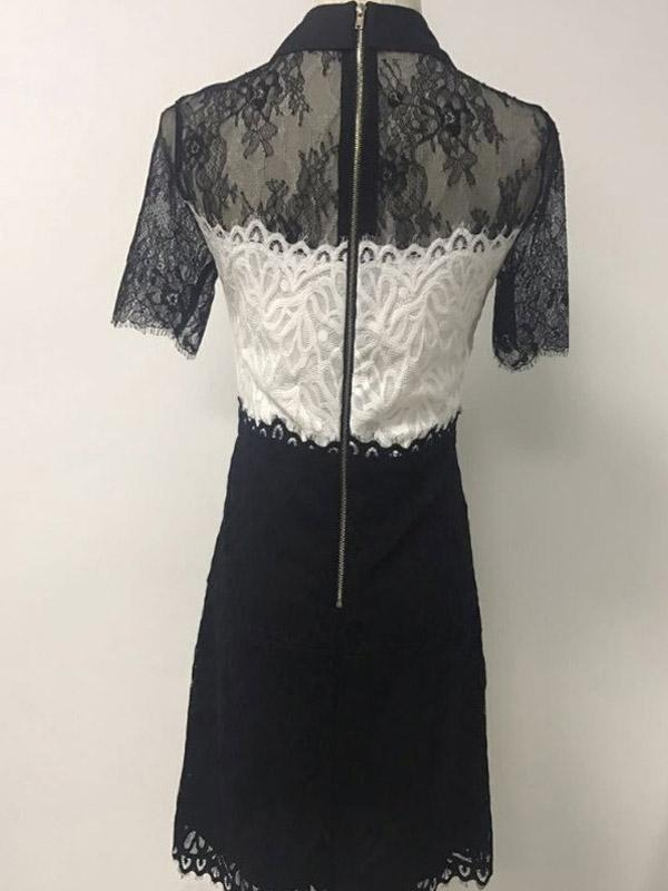 French Elegance Knitted Bow Lace Dress