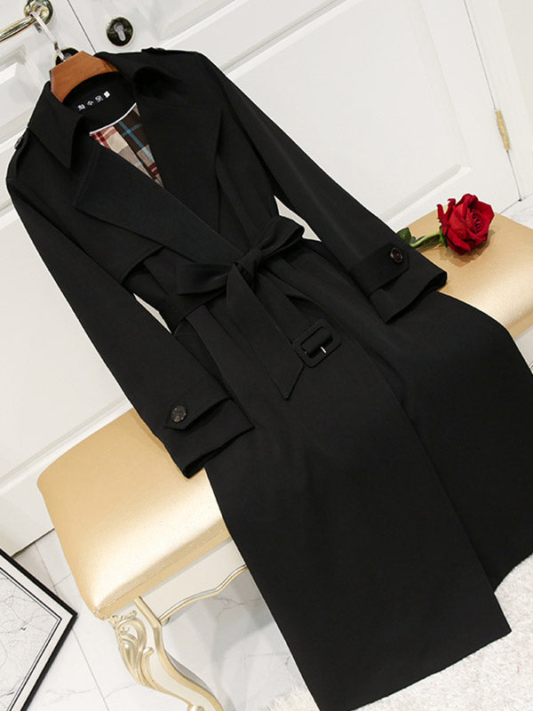 Loose Easy Matching Lace-up Black Windbreaker Coat