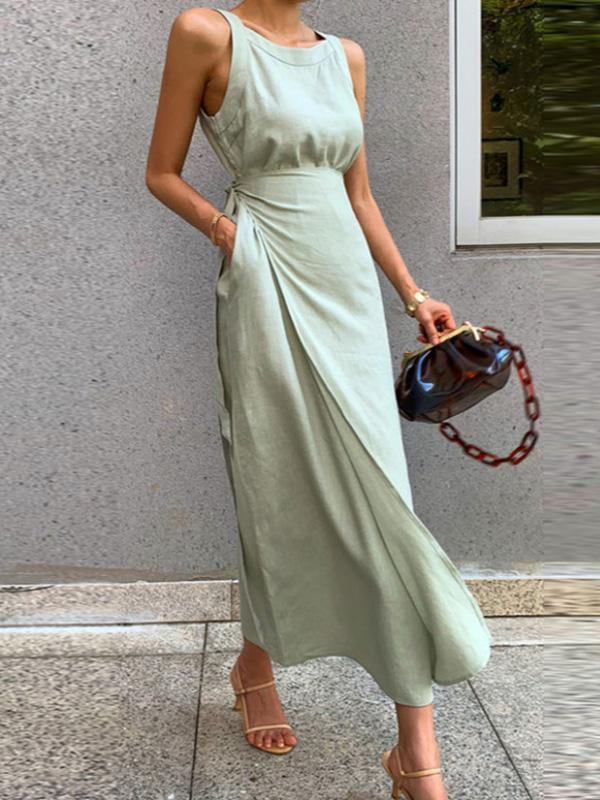 Apple Green Linen Lace Up Tunic Long Dress
