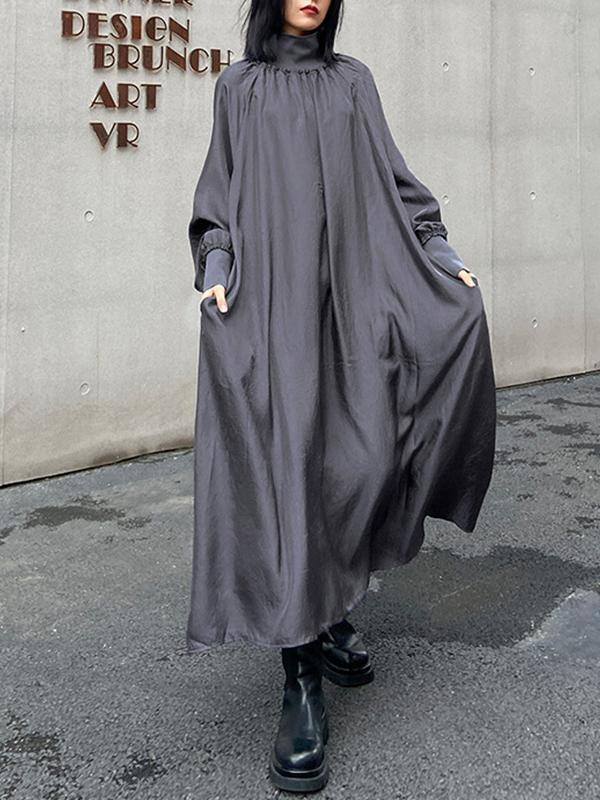 Large size long sleeve slim high collar mid length dress