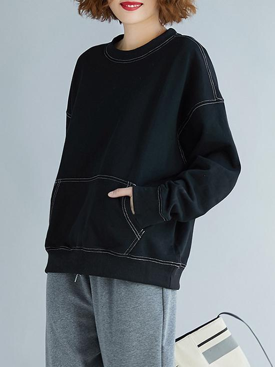 Black Loose Sweatershirt