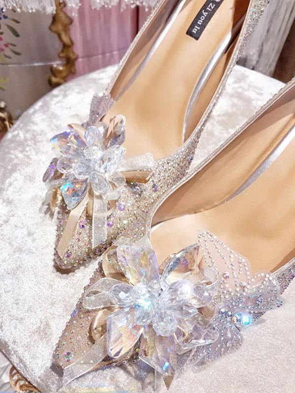 Crystal Flower With Pointed Toe High Heels