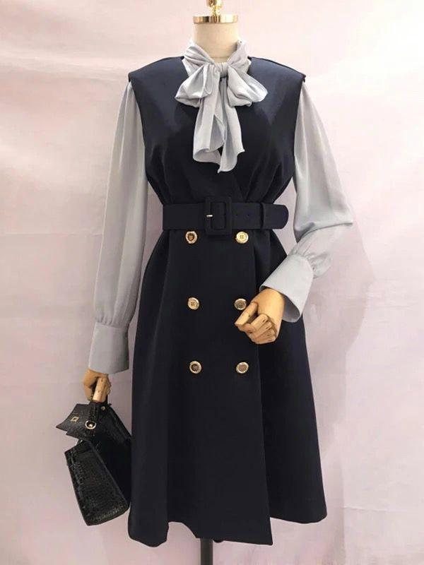 Bow-tie Shirt Straps Mid-length Vest Dress Two-piece