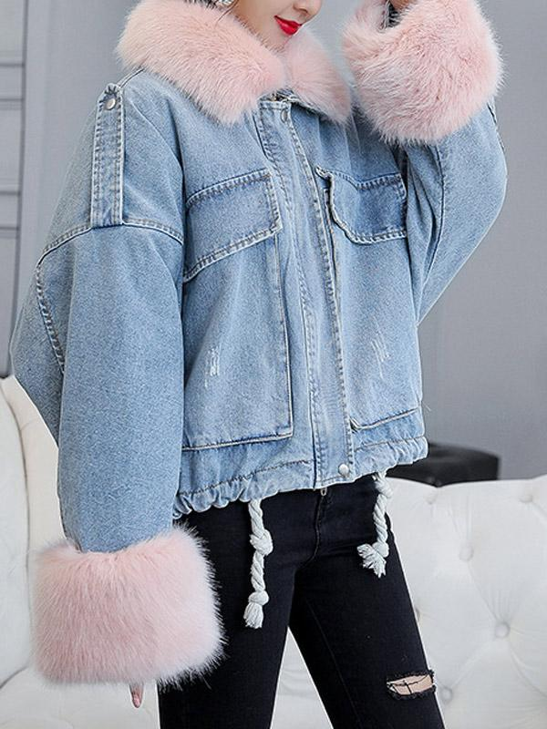 Zipper Thick Loose Standard Lapel Jacket