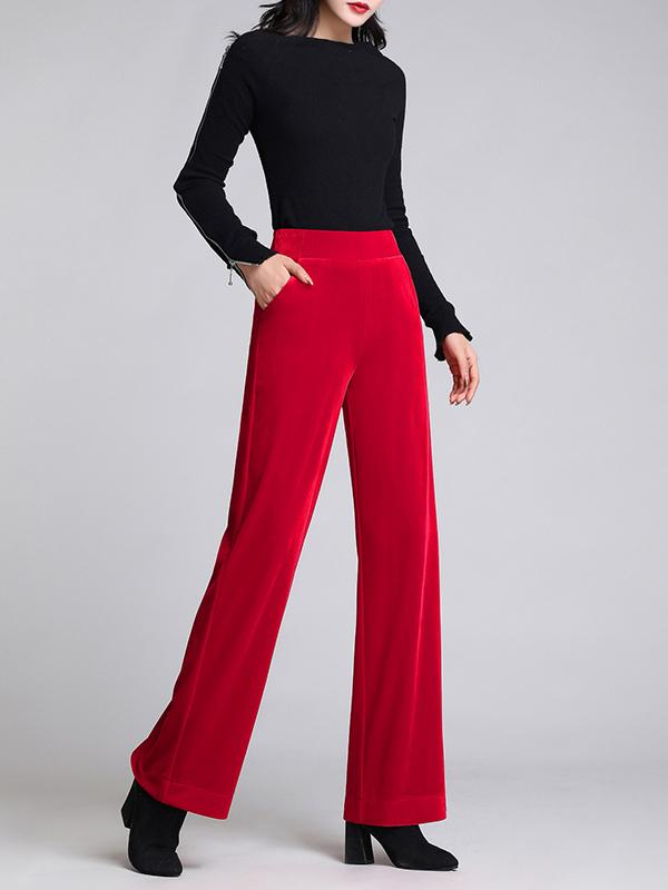Winter Pleuche Elastic Waist Wide-leg Pants