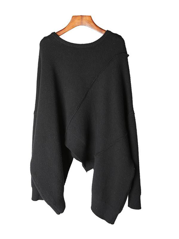 Fashion Pullover loose solid irregular stitching sweater