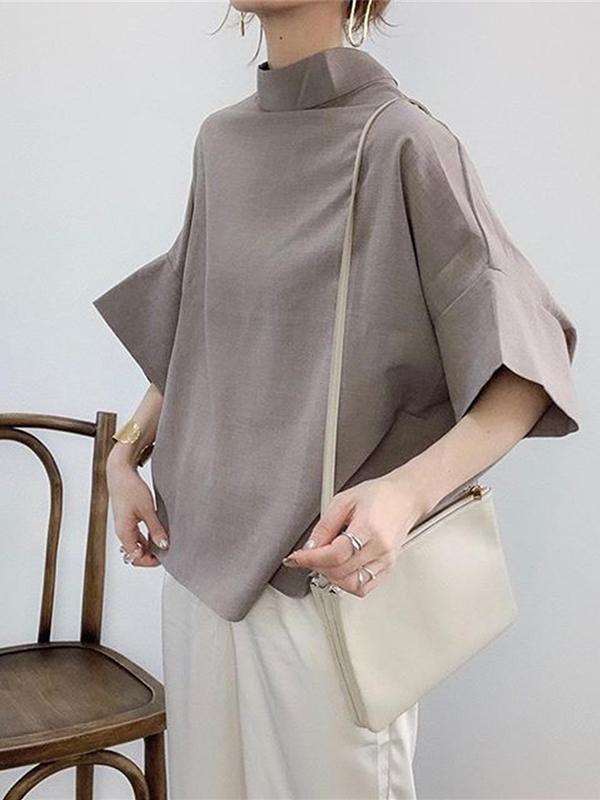 Solid Korean Pullover bat sleeve casual top
