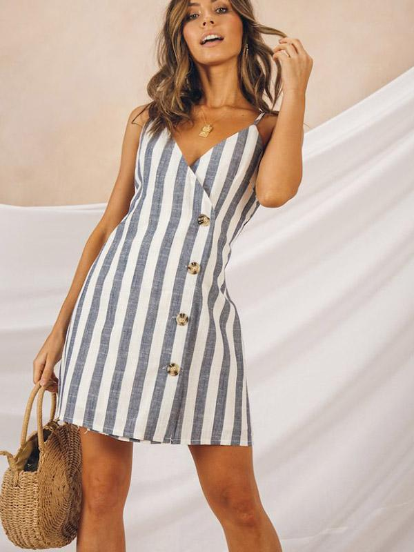 Recreational Simple Stripe Sling Miniskirt