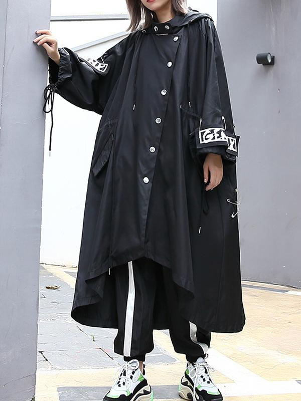 Broken letter long asymmetric trench coat