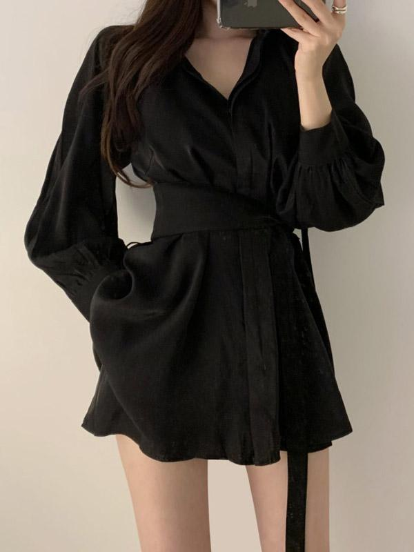 Slim Belted Shirt Dress with Shorts