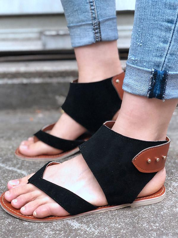 Plus Size Rome Flat Metal Rivets Sandals
