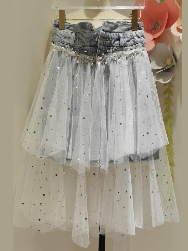Stitching Mesh Unbalanced Embroidery Beaded Denim Skirt