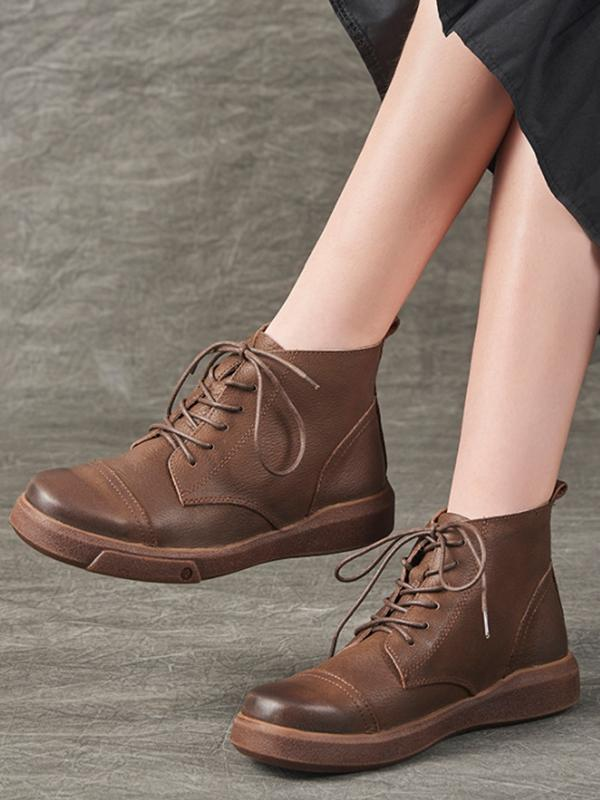 Casual Rub Colors Leather Martin Boots