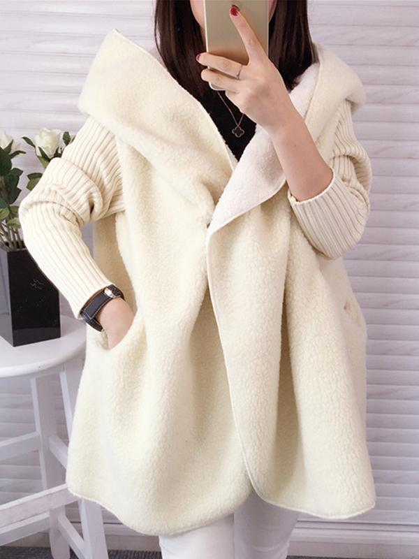 Plus Size Padded Cardigan with Hood