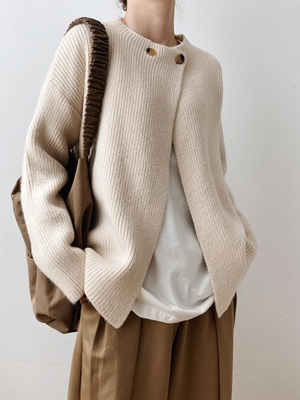 One Button Ladies Fashion Simple Wearing Long Sleeve Loose Elegant Autumn Trend Knitwear