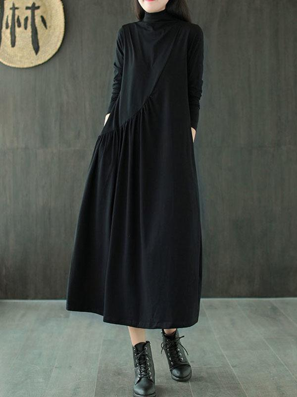 Loose All-match High Neck Midi Skirt