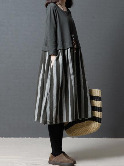 Comfortable Simple Stripe Split-joint Long Dress