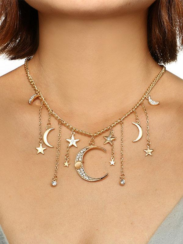 Star and Moon Tassel Pendant Chain Long Single Layer Necklace Necklace