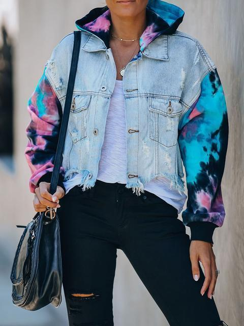Tie-dye Ripped Tassel Denim Jacket Coat