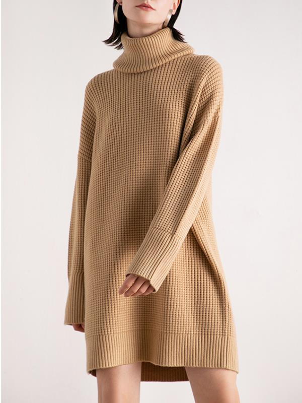 Autumn High-neck Knitted Hooded Sweater Dress