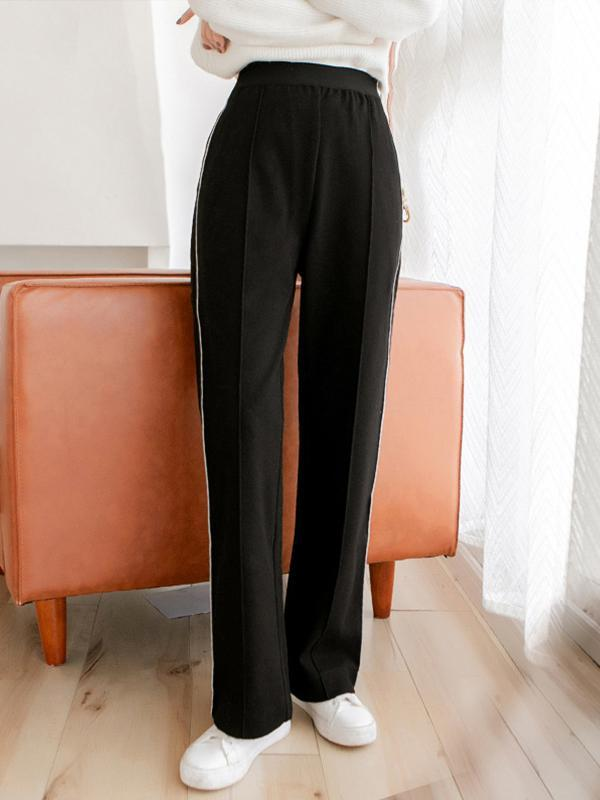 Loose ladies fashion trousers with plain pockets High waist casual pants