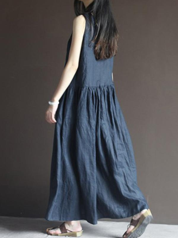 Japanese Style Loose Sleeveless V Neck Pockets Women's Maxi Dress