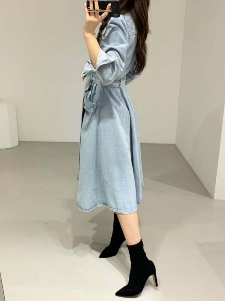 Denim High Waist Belt A-Line Pockets Women's Maxi Dress