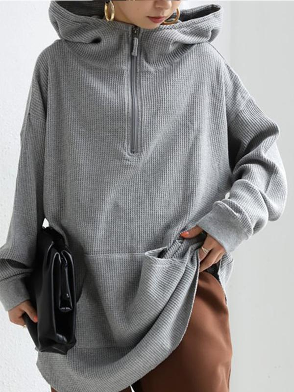 Street Fashion Loose Hooded Zipper Pullover Hoodie