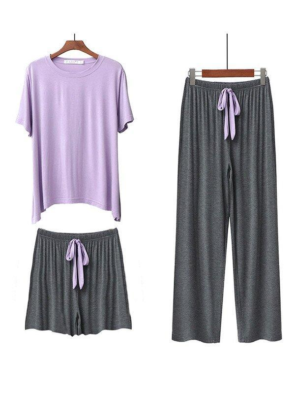 Three Pieces Comfortable Short Sleeve T-Shirt&Wide-Leg Shorts&Pants Pajama Suit