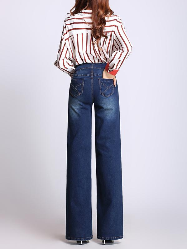 Plus Size Winter High Waist Wide-leg Jeans Pants