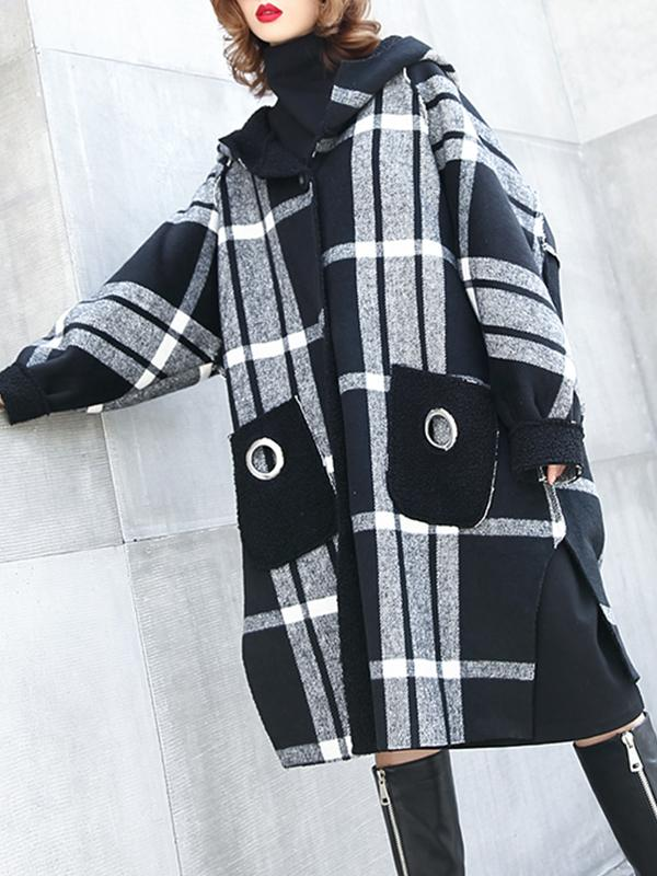 Winter Thickening Plaid Berber Fleece Hooded Coat