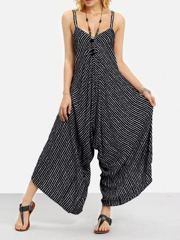 Striped Sling Wide Loose One-Piece Cropped Trousers