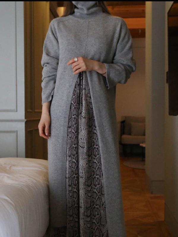 Street Fashion High Neck Split Long Knitwear Dress