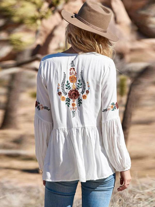 Bohemia Lantern sleeve V-tie Embroidered Shirt