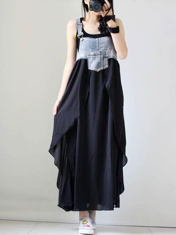 Sleeveless High Waist Denim Maxi Dress