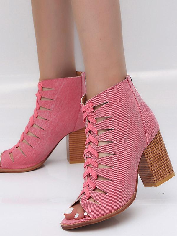 Hollow-out High Chunky Heels Peep Toe Boots
