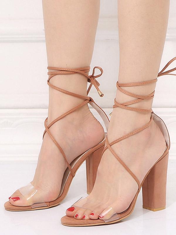 Plus Size Lace-up Sequins Coarse High Heel Sandals