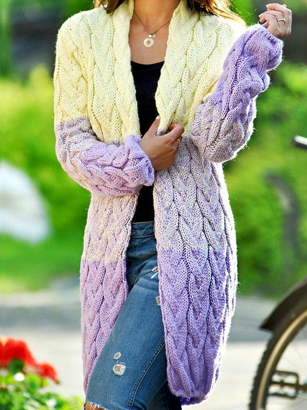 Color Mixed Loose Knit Sweater