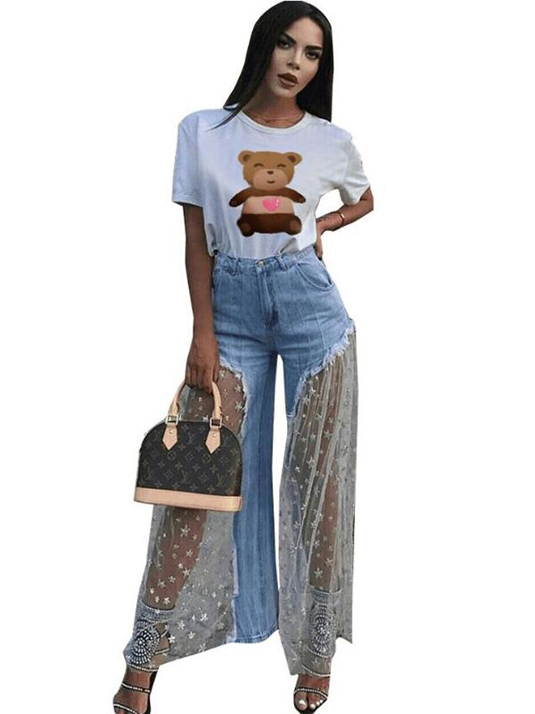 Mesh Stitched Fringed Wide-leg Jean Pants