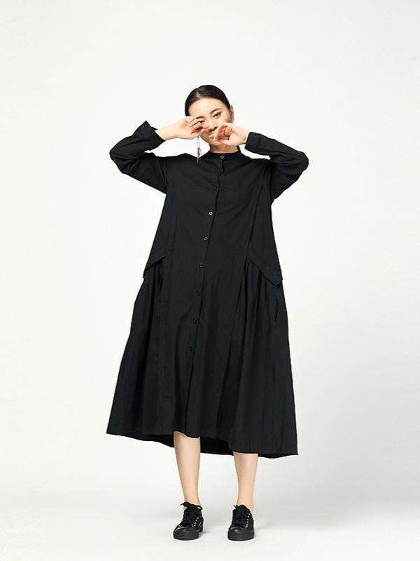 Casual Long Sleeves Stand Collar Long Women's Shirt Dress