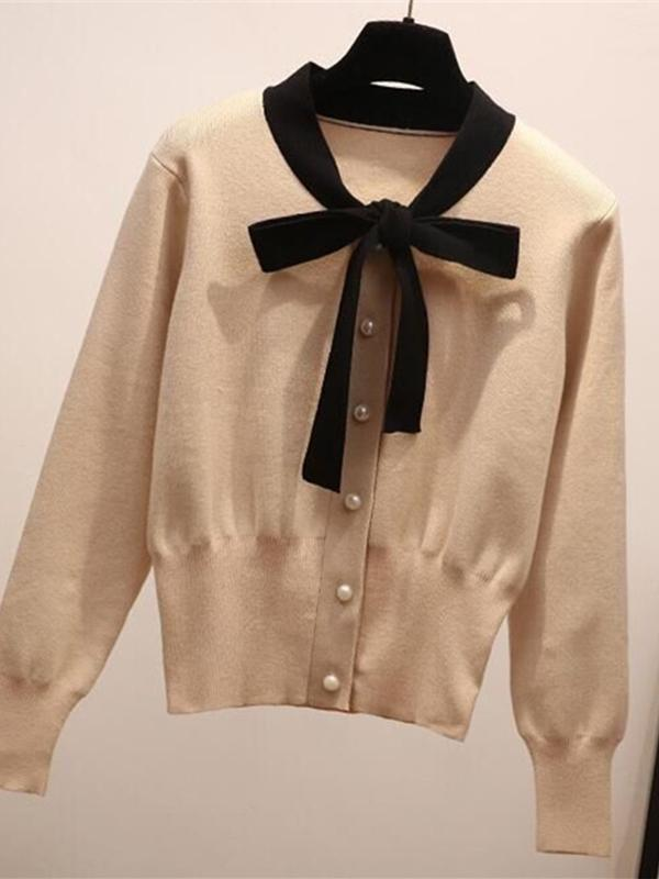 Cute Bow Long Sleeves Women's Sweater