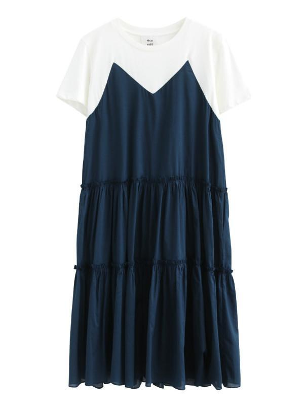 Ruffled Patchwork Round Neck Short Sleeves Women's Maxi Dress