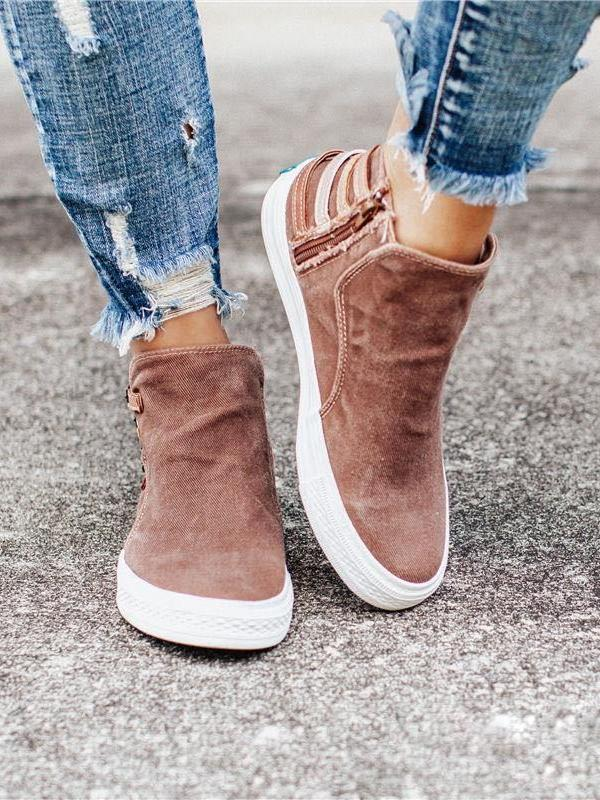 Casual Flat Heel Mid Top Canvas Shoes for Women