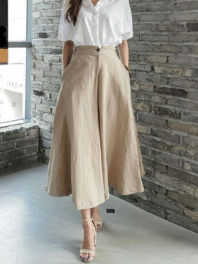 High Waist Wide Legs Cotton Women's Pants