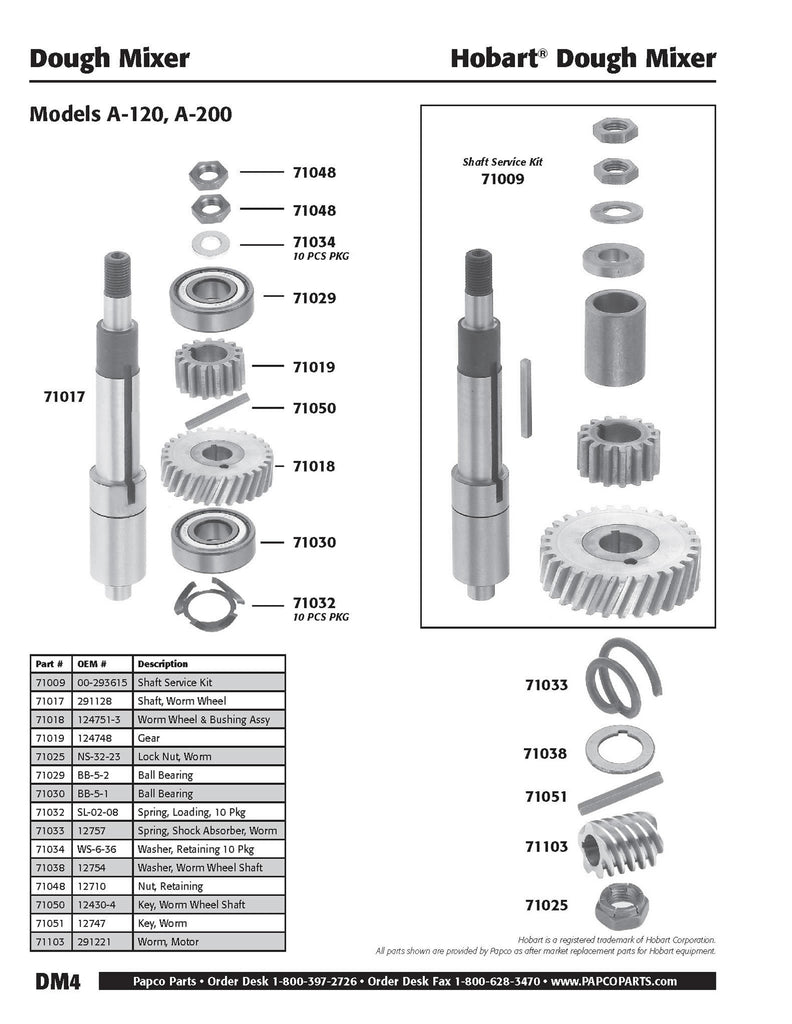 DM4 - Hobart Shaft Service Kit, Models A-120, A-200