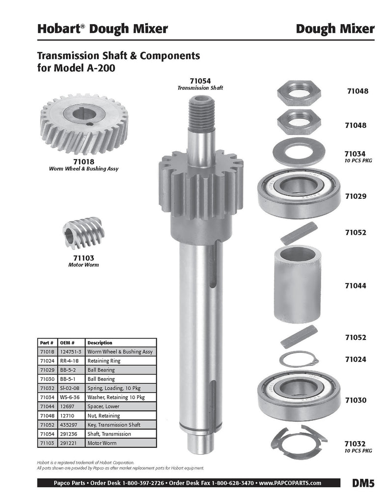 DM5 - Hobart Transmission Shaft & Components, Model A-200